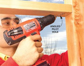 Tip it to the correct angle and drill the hole.