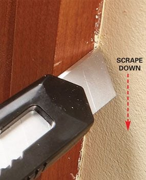 Photo 2: Use a razor knife in corners