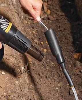Seal the splice in the underground wire.