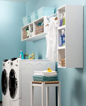 Painted box shelves in laundry room