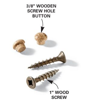Wooden buttons fit in the countersink holes.