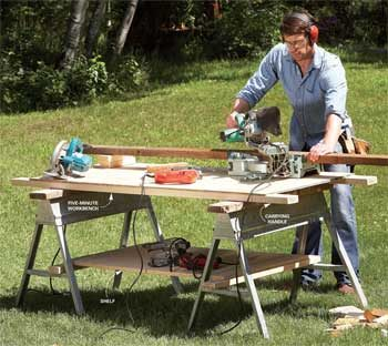 Plywood worktable resting on a pair of sawhorses