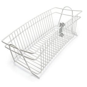 Hang wire catch-all baskets on shelf standards.