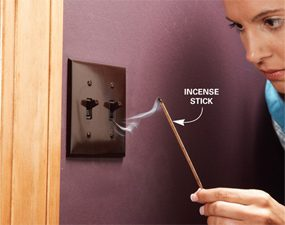 Use incense to locate leaky areas and then seal them.