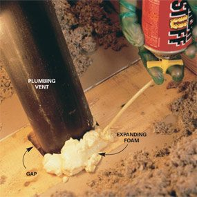 Seal large gaps with expanding foam.