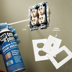 Use minimal expanding foam around outlets.