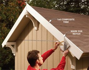 Photo 7: Mark the gable end trim for the brackets