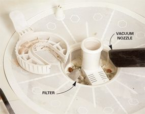 Clean dishwasher filter diagram