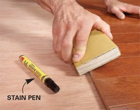 Use a stain pen on the bevel so that it disappears.