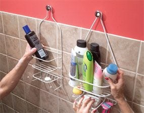 Hang shower shelves from cabinet knobs