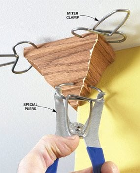 Special clamps hold miters together until the glue dries.