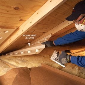 Saving energy blown in insulation in the attic the family handyman install or repair vent chutes solutioingenieria Images