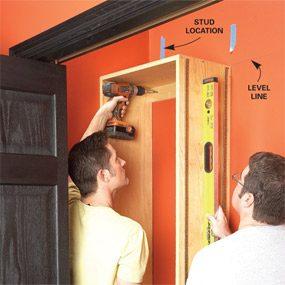 Photo 7: Plumb the shelf boxes