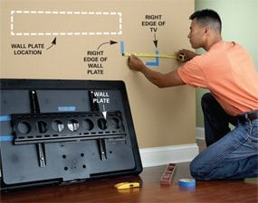 how to wall mount a tv the family handyman. Black Bedroom Furniture Sets. Home Design Ideas