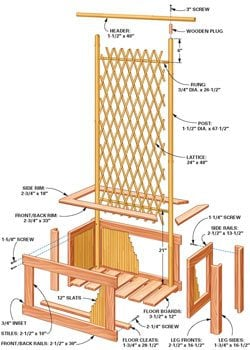 Bamboo planter and trellis technical drawing