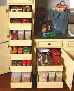 Rollouts in a pantry cabinet