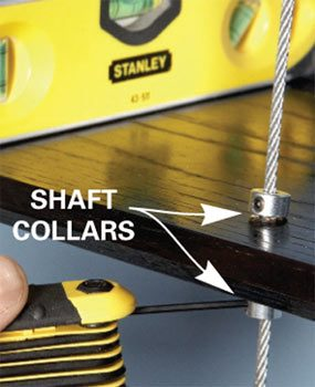 Tighten the collars to keep the shelf rigid.