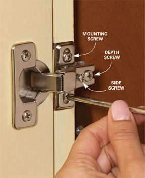 Adjust Euro Hinges Home Repair How To Fix Kitchen Cabinets