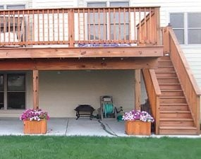 Flower boxes around deck footings