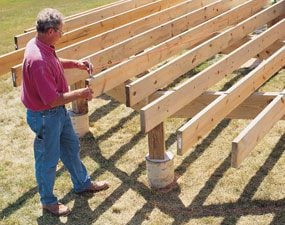 Swing an arc for curved deck framing