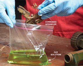 Photo 1: Soak sprinklers in rust remover