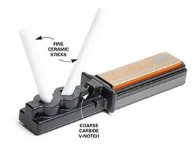 A stick sharpener is a good choice for sharpening knives.
