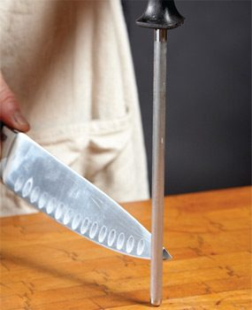 Change sides when you sharpen knives with a sharpening steel.
