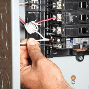 breaker box safety how to connect a new circuit family handyman rh familyhandyman com wiring a new circuit in a breaker box wiring a new circuit in a house
