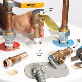 water heater repair how to replace the tpr valve the family handyman. Black Bedroom Furniture Sets. Home Design Ideas