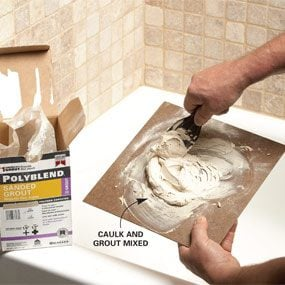 Photo 1: Use grout to color-match the caulk