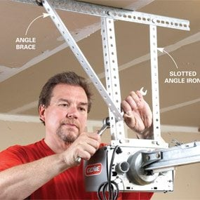 hang the opener with angle iron - How To Install A Garage Door Opener