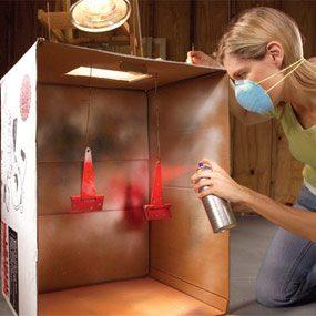 Cardboard box prevents overspray