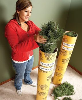 Store artificial tree in concrete form tubes