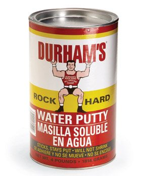 Water putty sets quickly and dries hard.