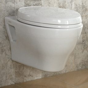 A wall-hung toilet