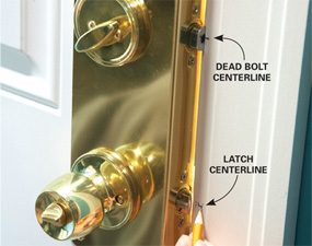 Photo 2: Mark the latch and bolt centers