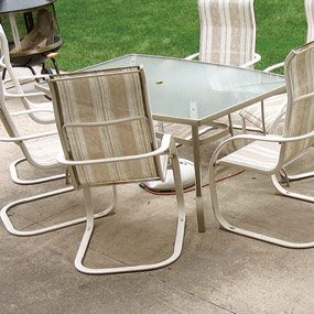 Concrete patios are typically plain and often show cracks.