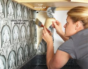 Kitchen Backsplash Vinyl Wallpaper ideas for the kitchen: wallpaper backsplash | family handyman