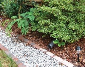 Close-up of French drain