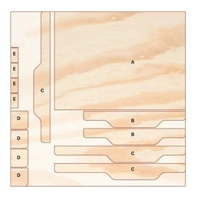Diagram of sled parts cut from 1/2-in. plywood