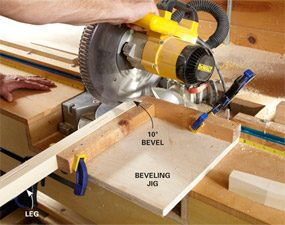Photo 7: Bevel the legs with a simple jig