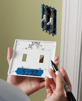 Write information on the switch plate