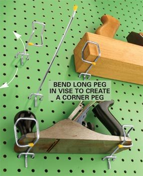 Secure tools with a bent pegboard holder