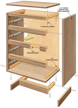 Technical drawing showing flat-pack furniture reinforcing details