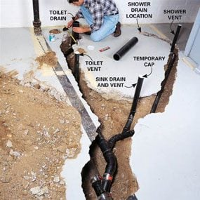 How To Plumb A Basement Bathroom The Family Handyman - Cost to add bathroom to existing space