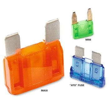 Three different types of fuses – maxi, mini and 'ATO' styles
