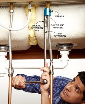 Remove faucet nuts with a faucet wrench