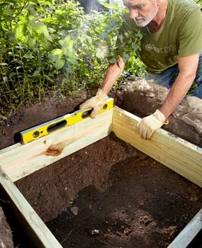 Photo 1: Dig a hole and lay in a wooden frame