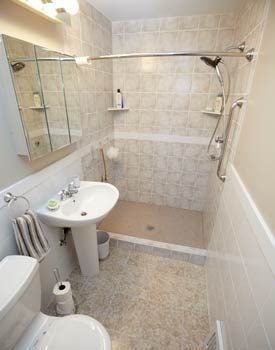 Completed bathroom with expanded shower area