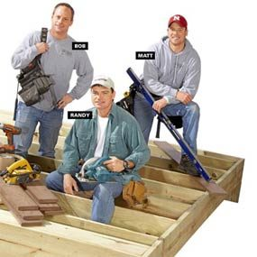 Deck-building consultants on partially finished deck